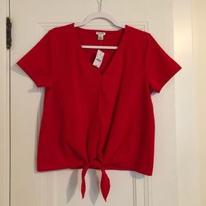 NWT J. Crew Tie Front Top in Cherry Red size M